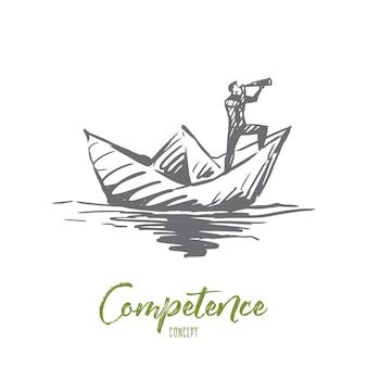 Competenza, lavoro, abilità, gestione, concetto di efficienza. uomo disegnato a mano sulla barca di carta in attesa di schizzo di concetto.