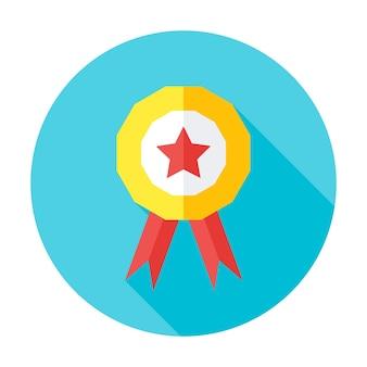Icona del cerchio piatto premio concorrenza. icona del cerchio stilizzato piatto con lunga ombra