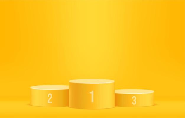 Podio del vincitore della competizione sulla scena minima, fase di premio dell'annuncio, piedistallo giallo per il modello di visualizzazione del prodotto