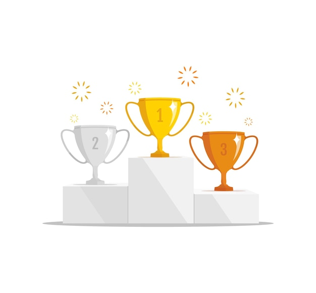 Podio dei vincitori della competizione con il concetto del vincitore della coppa del trofeo
