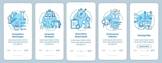 Schermata della pagina dell'app mobile per l'onboarding della competitività con i concetti. lavoro e carriera aziendale. guida all'ottimizzazione 5 passaggi istruzioni grafiche. modello vettoriale dell'interfaccia utente con illustrazioni a colori rgb