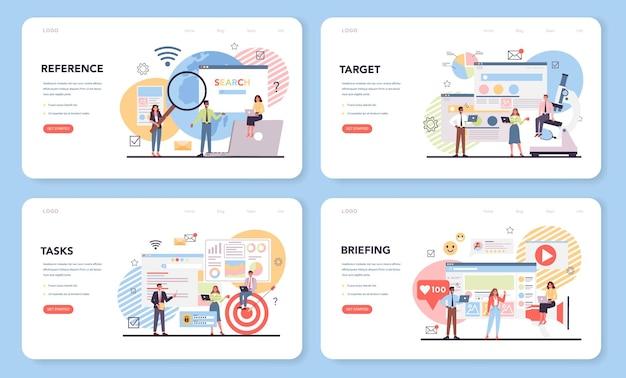 Banner web di analisi della concorrenza o set di pagine di destinazione