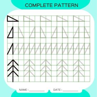 Schema completo. tracciare attività di linee per i primi anni. foglio di lavoro prescolare per la pratica delle abilità motorie fini. tracciare linee. migliorare i compiti di abilità.