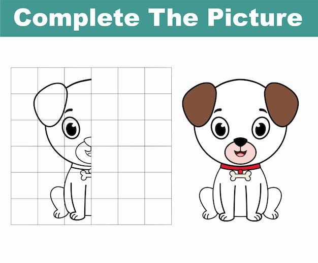Completa l'immagine di un simpatico cane copia l'immagine libro da colorare gioco educativo per bambini