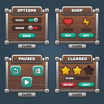 Set completo di pop-up, icone, finestre ed elementi del gioco con pulsanti del menu