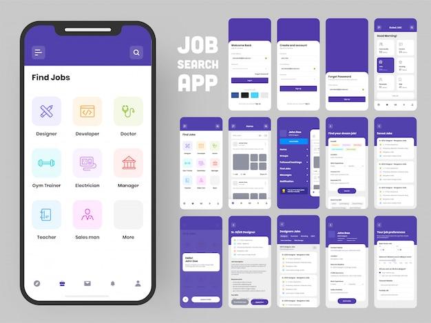 Schermate dell'interfaccia utente e ux complete per un'app mobile.
