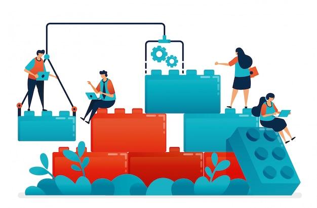 Componi i giochi lego al lavoro di squadra e alla collaborazione nel lavoro e nel problema aziendale.