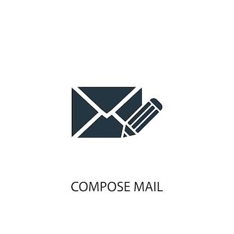 Componi l'icona della posta. illustrazione semplice dell'elemento. comporre il disegno di simbolo del concetto di posta. può essere utilizzato per web e mobile.