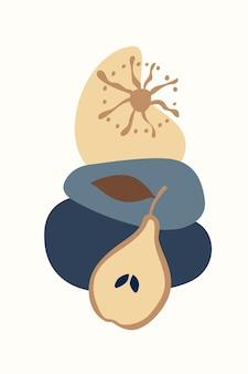 Composizione di forme astratte di frutta ed elementi in stile minimalista poster disegnato a mano