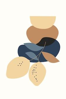 Composizione di forme astratte di frutti ed elementi in stile minimalista disegnati a mano