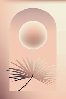 Composizione di forme astratte elementi botanici sfumato colore marrone minimalismo disegnato a mano