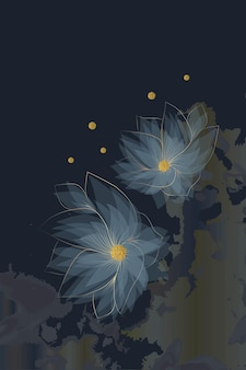 Composizione di forme astratte fiori oro texture inverno sfondo minimalismo disegnato a mano