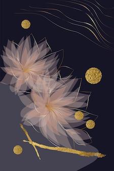 Composizione di forme astratte texture oro fiori lusso sfondo nero minimalis disegnati a mano