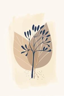 Composizione di forme astratte e foglie elementi botanici stile minimalismo disegnato a mano