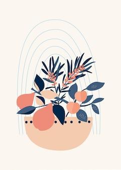 Composizione di forme astratte, vasi ed elementi botanici, stile minimalismo, disegnati a mano.