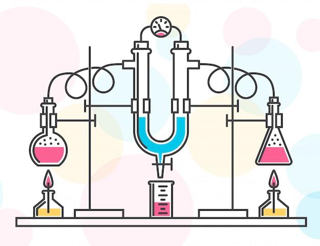 Composizione di boccette chimiche, tubi flessibili e un manometro in un laboratorio chimico