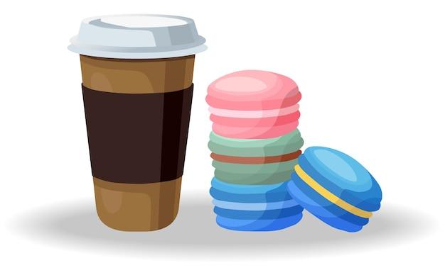 Composizione di una tazza di caffè e una pila colorata di macarons