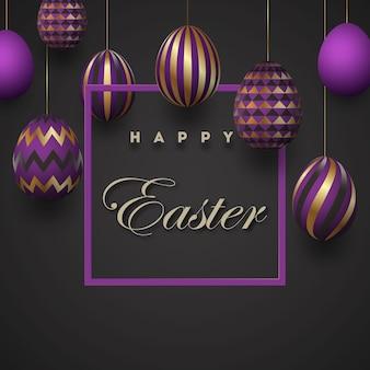 Composizione delle uova di pasqua. biglietto festivo bianco uova di pasqua dorate con motivi geometrici.