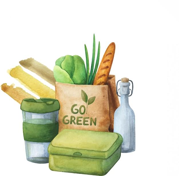 Composizione di alimenti sani e rispettosi dell'ambiente. il concetto di zero rifiuti.
