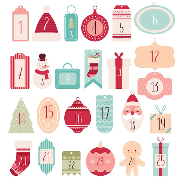 Composizione di etichette festive e tag per il calendario dell'avvento di natale