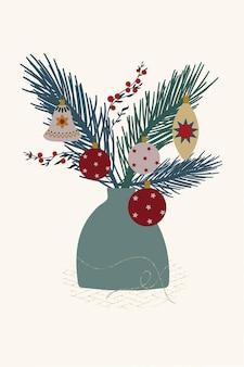 Composizione vaso ramo di abete palle di natale decoro capodanno