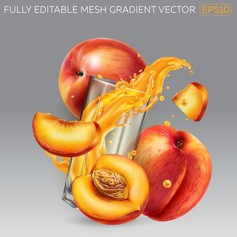 Composizione di pesche fresche e un bicchiere con una spruzzata dinamica di succo di frutta.
