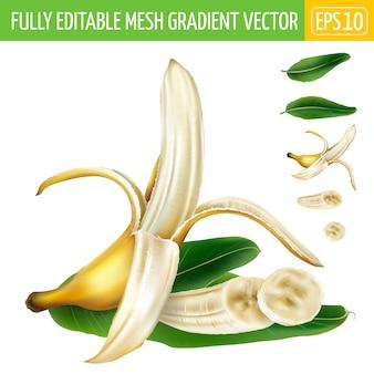 Composizione di banana a metà pelata e banana a fette con foglie verdi.