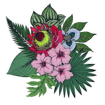 Composizione di fiori tropicali colorati disegnati a mano, foglie di palma, piante della giungla