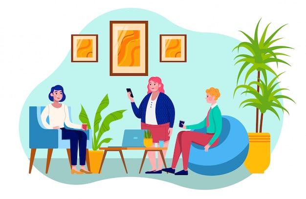 Composizione persone comunicano in ufficio, colleghi di gruppo, conversazione al lavoro, illustrazione, su bianco. attrezzatura informatica, pausa caffè, donne, uomini di diverse nazionalità.