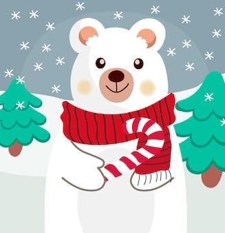 Composizione di un orso polare con sciarpa rossa e un bastoncino di zucchero nella zampa.
