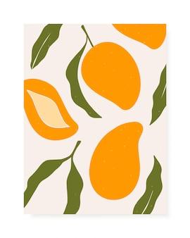 Composizione di mango e foglie alla moda disegnati a mano