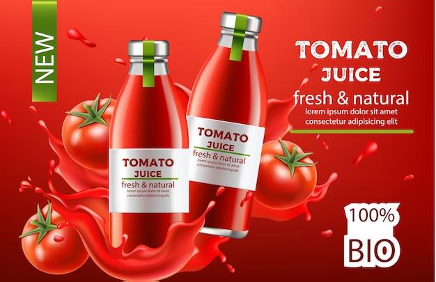 Composizione, due bottiglie con succo bio fresco e naturale immerse in un liquido che scorre e pomodori. posto per il testo. realistico