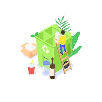 Composizione dei rifiuti e riciclaggio. un piccolo uomo raccoglie i rifiuti domestici in un contenitore della spazzatura. illustrazione isometrica piatta ¡.