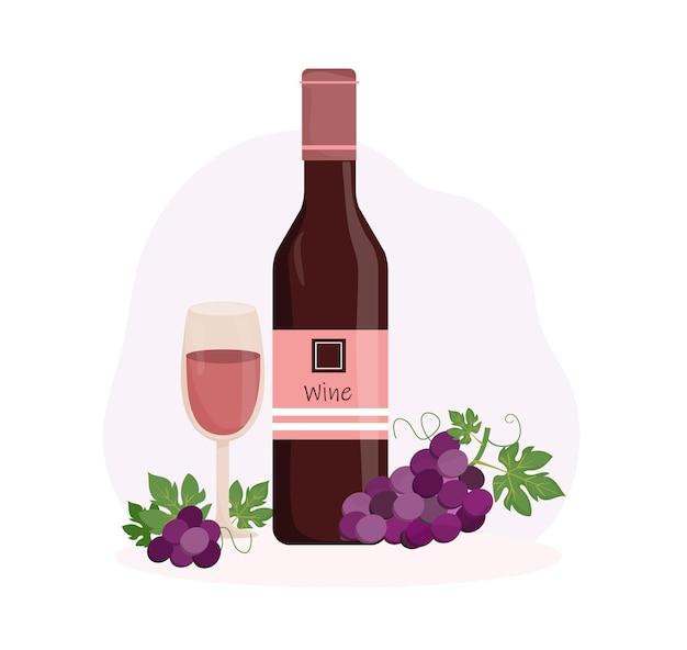 Composizione con bottiglia di vino rosso calice e grappolo d'uva degustazione vini vendemmia