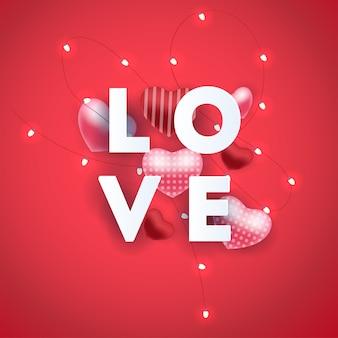 Composizione con lettere d'amore love ed elementi cuore palloncino astratti.