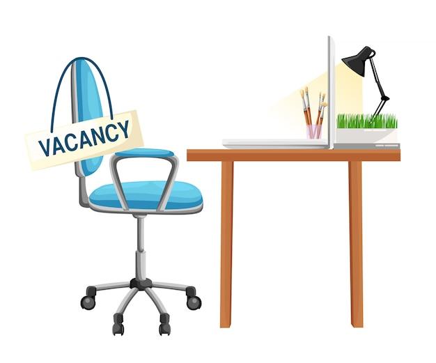 Composizione con sedia da ufficio e cartello vacante. concetto di assunzione e reclutamento di imprese. illustrazione. pagina del sito web e elemento dell'app mobile.