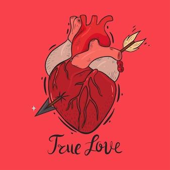 Composizione con un cuore trafitto e la scritta vero amore