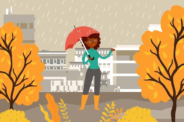 Composizione donna sotto un ombrello, pioggia di stagione autunnale, caduta di foglie di sfondo giallo, illustrazione. ambiente naturale arancione, ragazza a piedi parco, tenere in mano l'ombrellone.