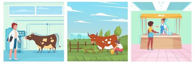 Composizioni di routine di allevamento intensivo e bancarelle che vendono latte