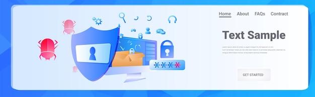 Computer app protezione antimalware scudo dati privacy concetto di sicurezza orizzontale copia spazio illustrazione