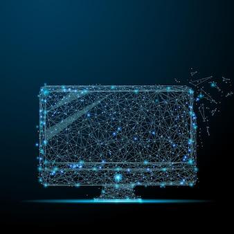 Computer sfondo blu a rete astratta con cerchi, linee e forme computer di progettazione