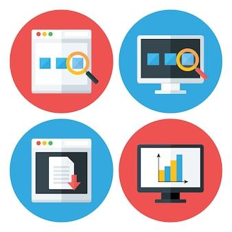 Icone del cerchio piatto di tecnologia del browser del computer impostate. icone stilizzate piatte