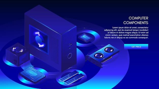 Componenti del computer necessari per creare pc desktop personalizzati, modello di banner web, illustrazione isometrica vettoriale.