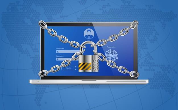 Computer cyber internet e banner web di protezione della sicurezza dei dati personali.