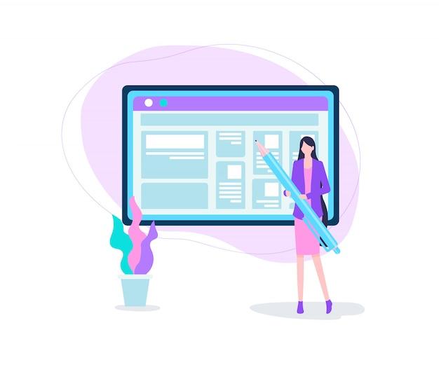 Interfaccia blog sullo schermo del dispositivo digitale del computer