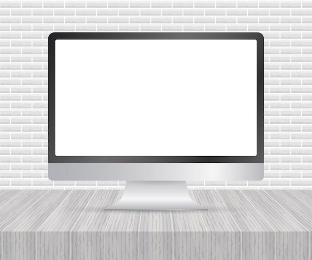 Display del computer isolato in un design realistico su sfondo bianco. illustrazione di riserva di vettore.