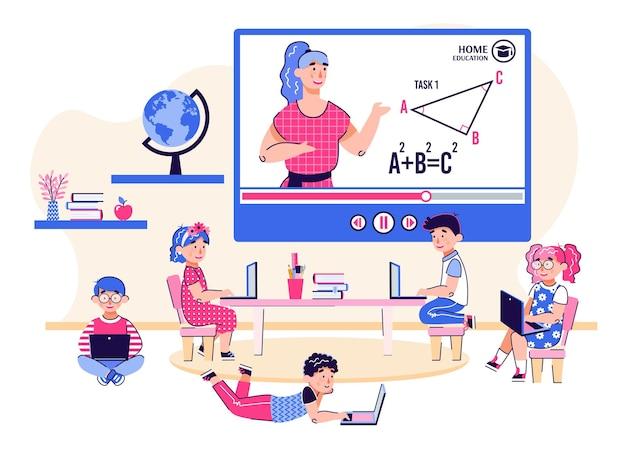 Lezioni a distanza del computer per l'illustrazione di vettore del fumetto dei bambini isolata