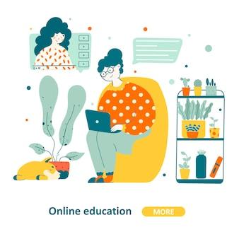Anziani di educazione informatica in design piatto