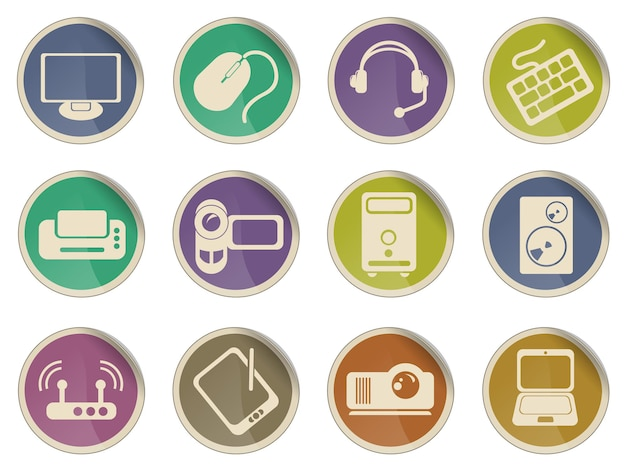Icone vettoriali semplici apparecchiature informatiche