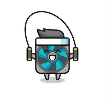 Cartone animato personaggio fan del computer con corda per saltare, design in stile carino per maglietta, adesivo, elemento logo
